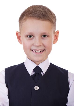 9 10 years: Caucasian happy school boy, isolated on white background