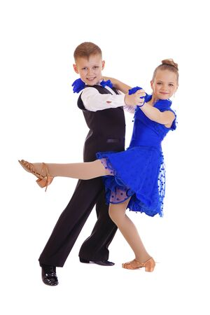 8 10 years: Little dancers couple, isolated on white background