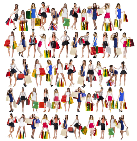 Collage of five models, Full length portrait of a beautiful young women posing with shopping bags, isolated on white background