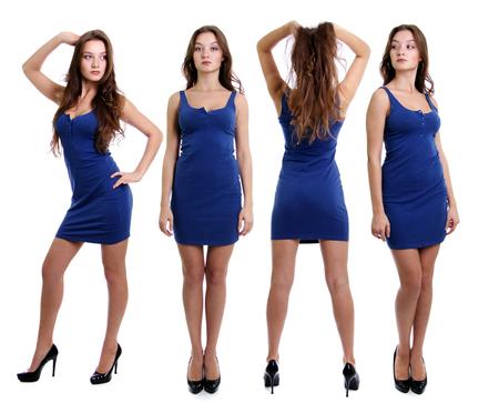 Collage drei jungen Frauen im blauen Kleid, in voller Länge von einer schönen jungen Dame