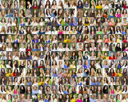 Collage of beautiful young women between eighteen and thirty years, a portrait of a close-up