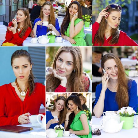 colorful dress: Collage, Three Beautiful young happy women in colorful dress Stock Photo