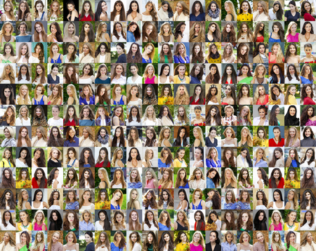 Collage of beautiful young women between eighteen and thirty years, a portrait of a close-up photo