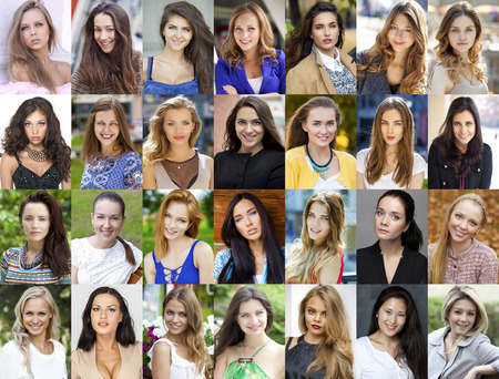 Collection of 28 different caucasian happy women photo