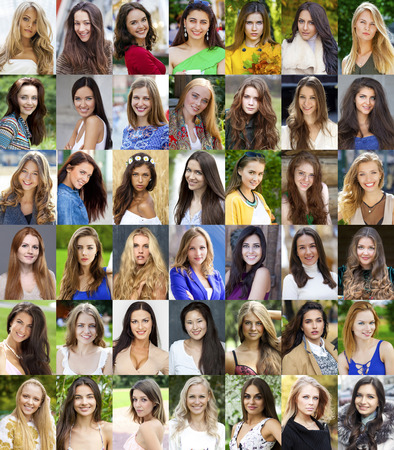 Collection different caucasian happy women photo