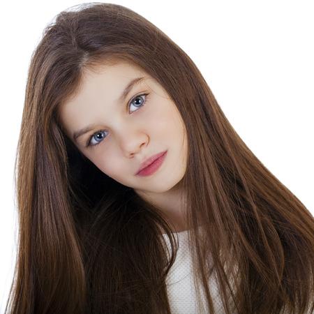 Portret van een charmante meisje, geïsoleerd op een witte achtergrond Stockfoto