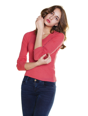 Young casual brunette woman portrait isolated on white background Stock Photo