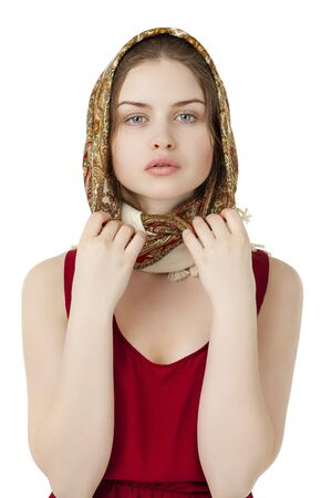 lull: Young blonde woman in a red golden scarf on walk isolated on white background