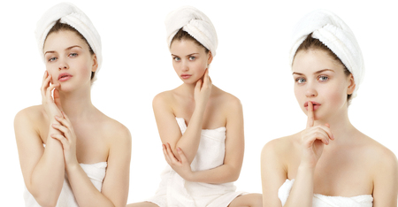Body Care Collage. Beautiful young women posing in white towel. Spa, health care. isolated on white background