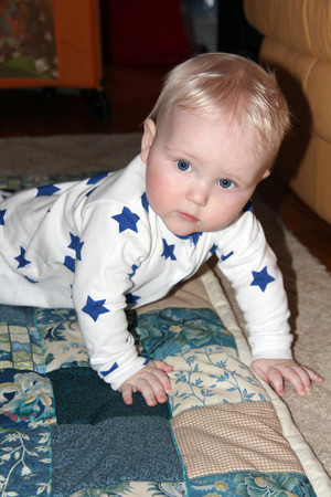 six month old: Closeup six month old baby blonde boy