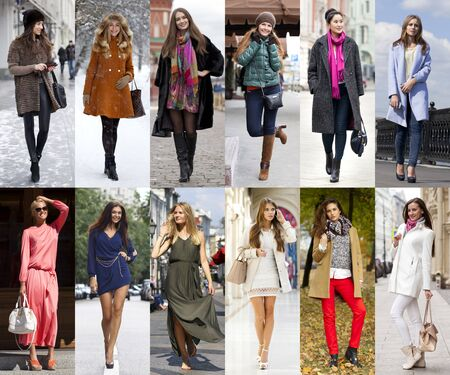 seasonal clothes: Seasons, twelve months. Twelve different women in seasonal clothes for each month of the year