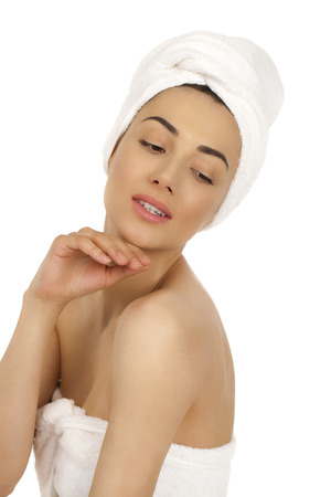 bared: Portrait of a bared beautiful woman getting ready for the spa treatment, isolated on a white background, please see some of my other parts of a body images Stock Photo
