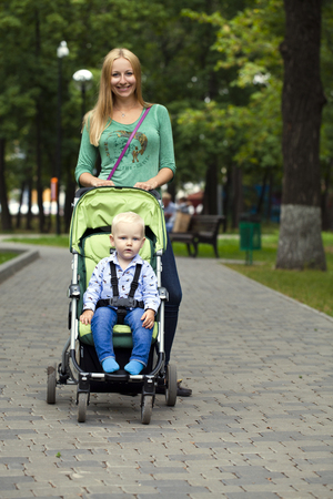 two year: Young mother with two year old son in summer park