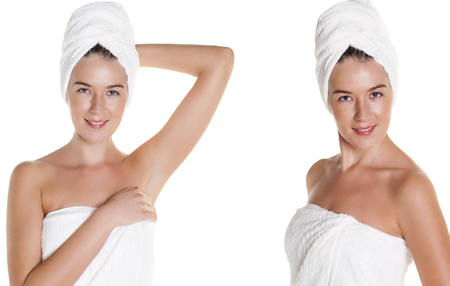 Beautiful Happy Spa Girl Isolated on a White Background. Happy Woman after Bath with Clean Perfect Skin photo