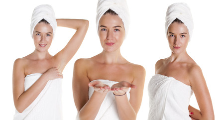 Body Care Collage. Beautiful young women posing in white towel. Spa, health care. isolated on white background photo