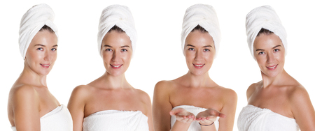 Collage Spa. Four Beautiful young women in white towel, isolated over white background photo