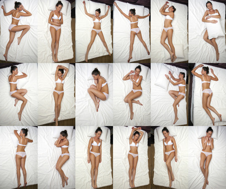 Collage Sleeping positions. Young woman in white underwear sleeping on a double bed photo