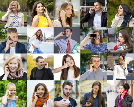 Collage. Happy People Calling By Phone Stock Photo
