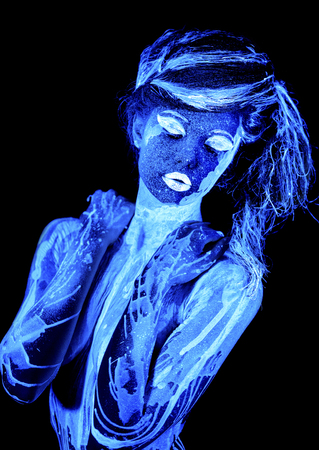 aqua naked: Water woman. Body art glowing in ultraviolet light, four elements, isolated on black background Stock Photo