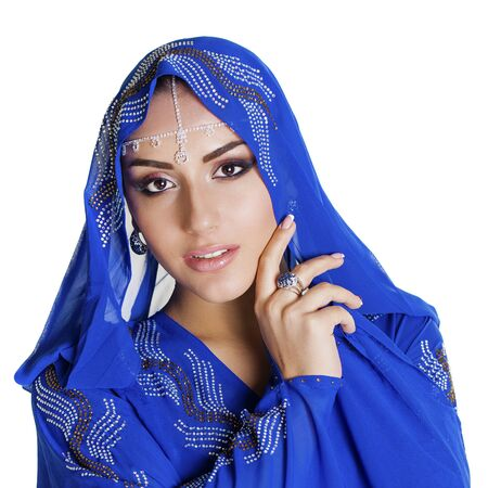 indian blue: Young traditional Asian Indian woman in indian blue sari, isolated on white background Stock Photo