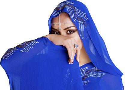 sari: Young traditional Asian Indian woman in indian blue sari, isolated on white background Stock Photo