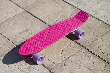penny: Pink penny skateboard, summer outdoors