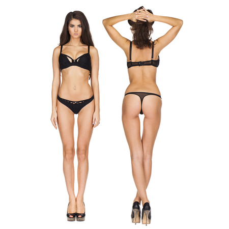 Collage photo beautiful brunette model in black lingerie, front and rear, isolated on white background