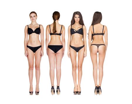 Collage foto mooie brunette modellen in zwarte lingerie, voor en achter, geïsoleerd op een witte achtergrond