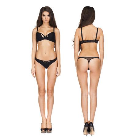 Collage twee sexy modellen. Volledig portret van sexy donkerbruine vrouwen in zwarte lingerie in donkergrijze studio
