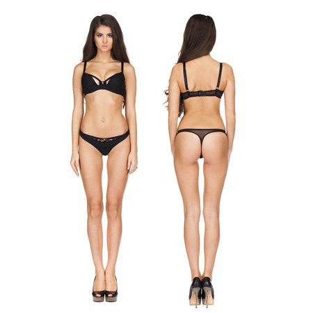 Collage zwei sexy Modelle. Vollständiges Porträt von sexy Brünette Frauen in schwarzen Dessous in dunkelgrau Studio Standard-Bild - 68971291
