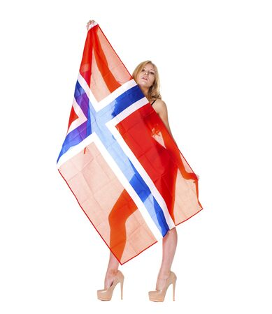 Young beautiful girl holding a large transparent flag of Norway, isolated on white background