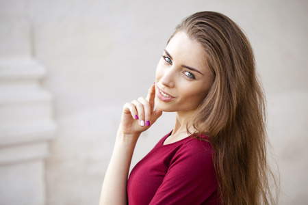 only 1 woman: Close up, portrait of a young beautiful brunette woman