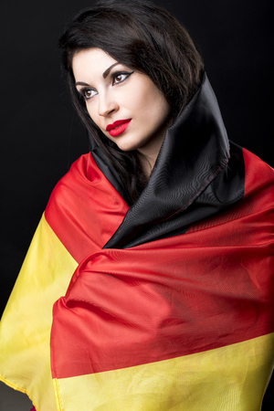 dole: Grieving germanium, a young German woman covers her face hand Stock Photo