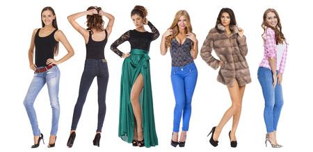 visone: Collage belle giovani donne. Ritratto pieno di modelli sexy, isolato su sfondo bianco