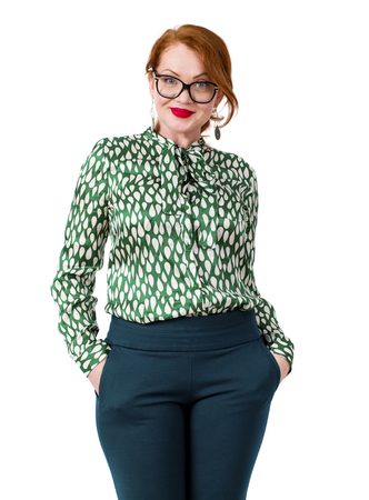 Stylish middle-aged lady isolated on white background