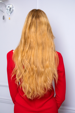Female Long wavy blonde hair, rear view, studio wall background Stock Photo