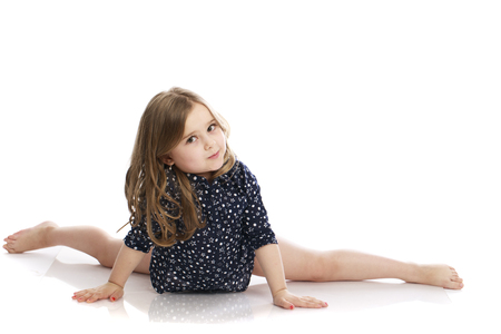 Beautiful blonde little girl, isolated on white background Stock Photo