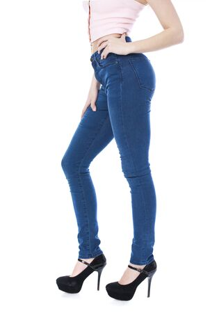 Female body part denim jeans, front view, inner thigh, isolated on white background