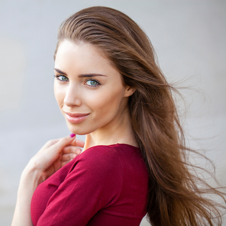 Close up, portrait of a young beautiful brunette woman