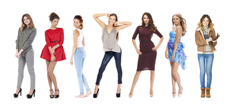Snap fashion models. A collage of seven beautiful fashionable girls isolated on a white background