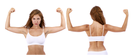 Collage fitness women. The strength of a woman in her weakness. Weight loss and healthcare concept. Strong beautiful models in white fitness clothing