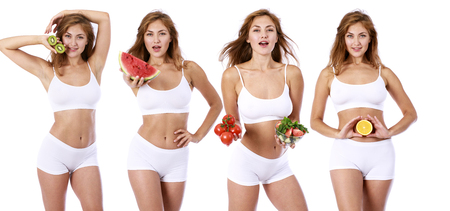 Fitness diet. Collage of four sexy models with diet food, isolated on white background
