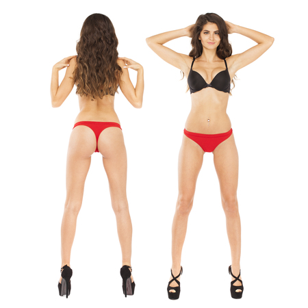 Collage two sexy models. Full length portrait of young brunette women in Black bra and red panties, isolated on white background
