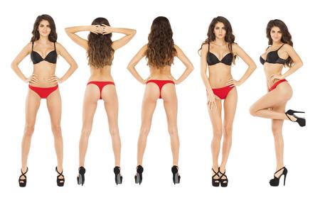 Collage mujeres sexy. Retrato de cuerpo entero de jóvenes modelos morenas en un sujetador negro y bragas rojas, aislado sobre fondo blanco Foto de archivo