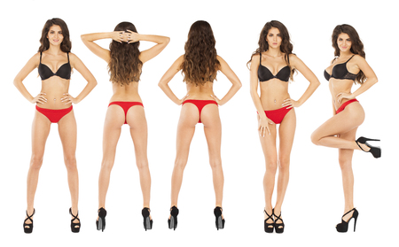 Collage women. Full length portrait of young brunette models in a black bra and red panties, isolated on white background Stock Photo