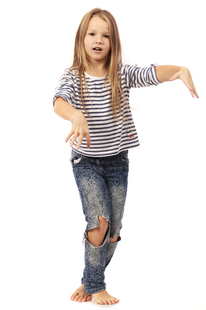 Happy blonde little girl, isolated on white background
