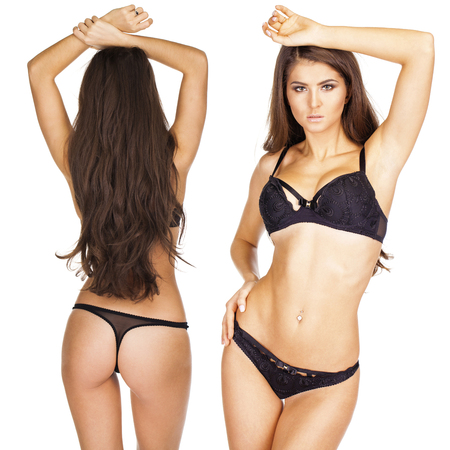 Brunette hair beauty models, Collage front and back view women in black underwear, isolated on white background