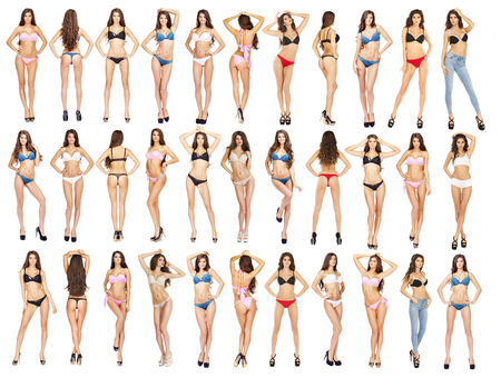 Collage, Beautiful full body brunette beauty women in sexy underwear, isolated on white background Stock Photo