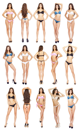 Collage, Beautiful full body brunette beauty women in sexy underwear, isolated on white background Archivio Fotografico