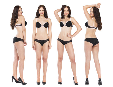 Collage four fashion models. Full portrait of sexy brunette women in black lingerie, isolated on white background Stok Fotoğraf